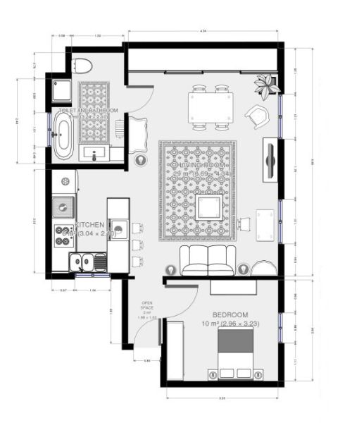 Floor Plan for Le Vaneau : Paris Best - Chic & Quaint Latin Quarter/Eiffel Tower